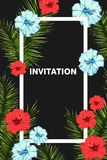 Seamless tropical vector pattern with hibiscus flowers and exotic palm leaves. Invitation card template. Exotic tropical jungle rainforest green palm tree and Stock Photography