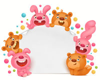 Invitation card template with funny cartoon toy animals Stock Images