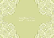 Invitation or Card template with lace mandala border Stock Photo