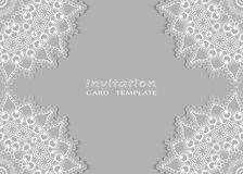 Invitation or Card template with lace mandala border Royalty Free Stock Image
