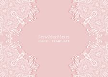 Invitation or Card template with lace mandala border Stock Images