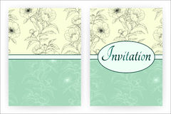 Invitation card template with peonies. Royalty Free Stock Photos