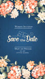 Invitation card template. Invitation vertical card. Floral vertical vintage invitation with orange garden blooming flowers. Vector illustration stock illustration