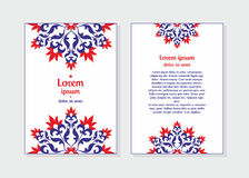 Invitation card template white. Templates flyer and invitation card in Oriental design. Floral ornament and pattern in a Moorish style. Arabesque Royalty Free Stock Photo