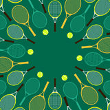 Invitation card with tennis rackets and balls Royalty Free Stock Images