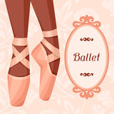 Invitation card to ballet dance show with pointe.  Royalty Free Stock Image