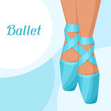 Invitation card to ballet dance show with pointe.  Royalty Free Stock Images