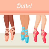 Invitation card to ballet dance show with pointe.  Stock Image