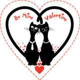 Invitation card for the Valentine`s day with couple cats Stock Image