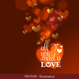 Invitation card of Valentine`s day or Wedding. Stock Images