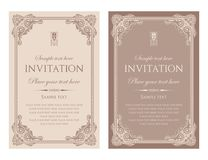 Invitation card vector design - vintage style. Unique vintage template for invitation card design stock illustration