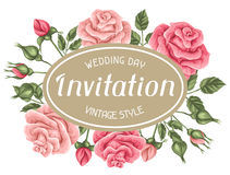 Invitation card with vintage roses. Decorative retro flowers. vector illustration
