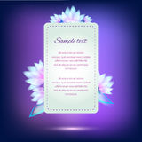 Invitation card on violet background with flowers Stock Photo