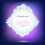 Invitation card on violet background with flowers Stock Photos