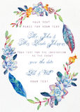 Invitation card. Watercolor blue succulents. Royalty Free Stock Image