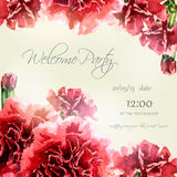 Invitation card with watercolor carnation frame Royalty Free Stock Images