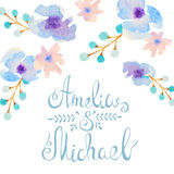 Invitation card with watercolor flowers for your Stock Photo
