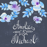 Invitation card with watercolor flowers for your Royalty Free Stock Images