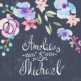 Invitation card with watercolor flowers for your Stock Photos