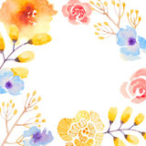 Invitation card with watercolor flowers for your Stock Image