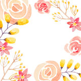 Invitation card with watercolor flowers for your Stock Images