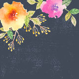 Invitation card with watercolor flowers for your Stock Photography
