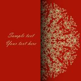 Invitation card for the wedding, anniversary, birthday and other. Holidays. Gold Illustrations on a red background with place for text. Can be used as a Royalty Free Stock Photo