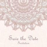 Invitation card on wedding, birthday. Background with mandala Stock Photos