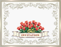 Invitation card for a wedding with a bouquet of roses Royalty Free Stock Photo