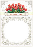 Invitation card for a wedding with a bouquet of roses Stock Photos