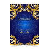 Invitation card, wedding card with blue background Stock Photos