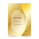 Invitation card, wedding card gold background Stock Photos