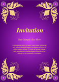 Invitation card, wedding card with golden ornamental on purple b Royalty Free Stock Images