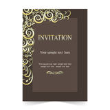 Invitation card, wedding card ornamental brown backgroun Royalty Free Stock Image