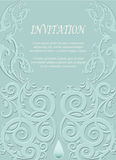 Invitation card, wedding card with ornamental on green backgroun Royalty Free Stock Images