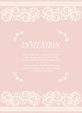 Invitation card, wedding card with ornamental on pink Stock Image