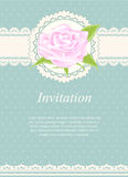 Invitation card, wedding card with rose floral on green backgrou Royalty Free Stock Photos