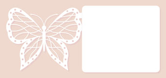 Invitation card, wedding decoration, design element. Elegant butterfly laser cut. Vector illustration. Stock Images