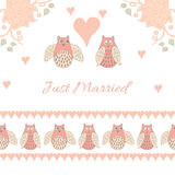 Invitation card for wedding. Just married. Frame for wedding card.  Seamless vector pattern with pastel hand drawn cute owls and hearts. Romantic design Royalty Free Stock Images