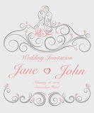 Invitation card for wedding with ornate swirl graphic decoration. Royalty Free Stock Images