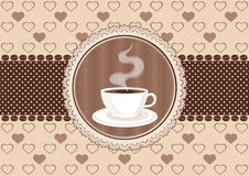 Free Invitation Card With Coffee And Lace Frame Stock Images - 37416634
