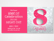 Invitation card for Women's Day celebration. Royalty Free Stock Images