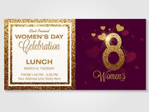 Invitation card for Women's Day celebration. Royalty Free Stock Image