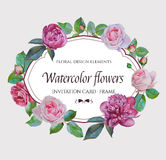 Invitation card with wreath of hand-drawn watercolor flowers Stock Photography