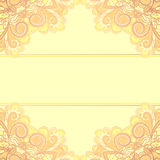 Invitation card with yellow corners Royalty Free Stock Photos