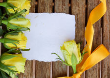 Invitation card with yellow roses Stock Image