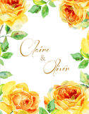 Invitation card. Yellow watercolor roses. Vintage floral card. Stock Images
