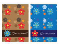 Invitation cards. Two invitation cards with flowers Royalty Free Stock Images