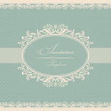 Invitation cards baroque blue. Vector illustration Stock Photos