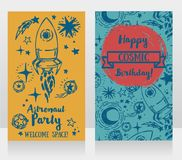 Invitation cards for boy`s birthday party Stock Photos